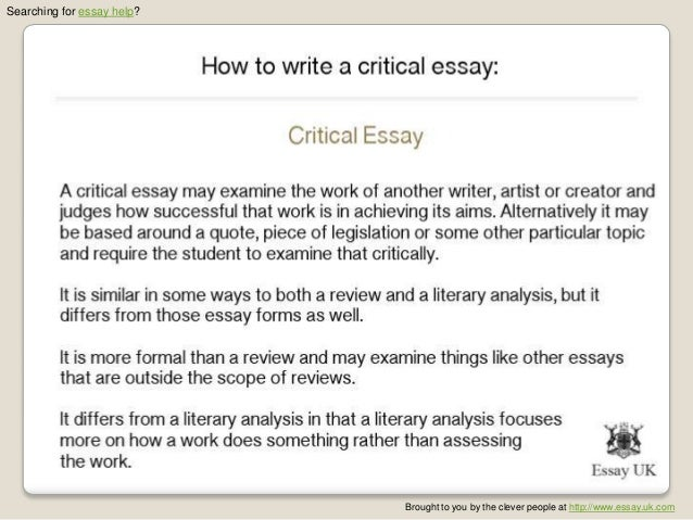 critical essay major As such, a critical essay requires research and analysis essays have become a major part of a formal education in the form of free response questions.