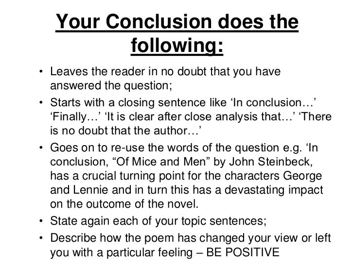 essay conclusions examples Another approach is to retell the same story in the conclusion with a different ( usually better) ending examples: in an essay about cell phone.