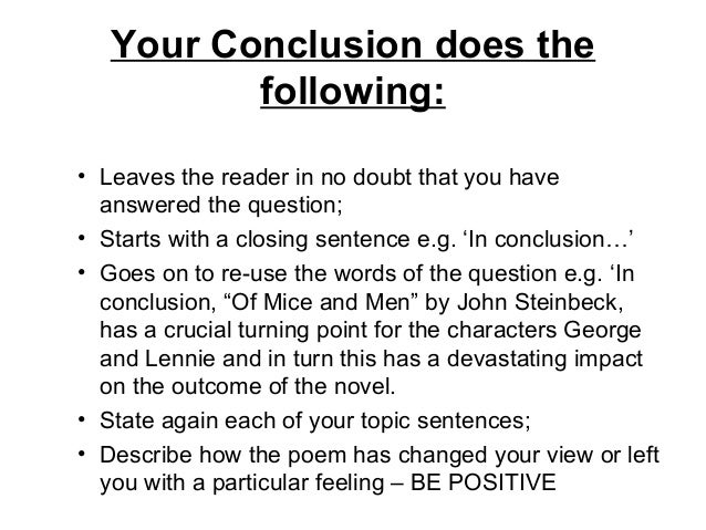 Conclusion sentence for an essay/speech?