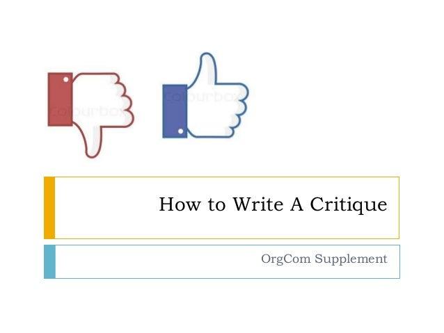 How do I write a critique?
