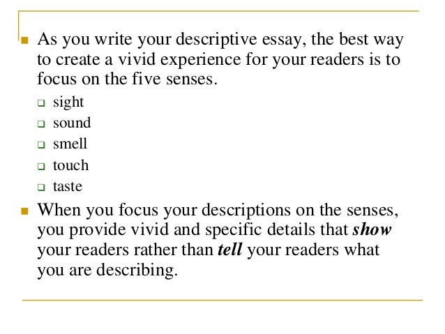 Things to write a descriptive essay about