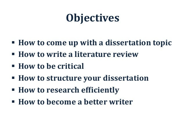 Bsc Dissertation Objectives For Appraisals