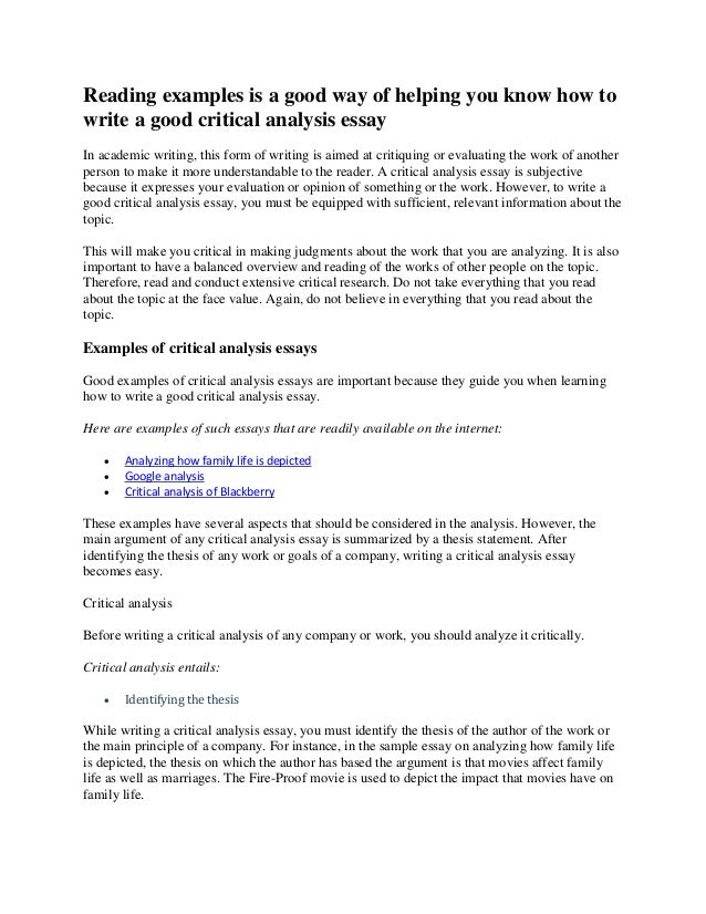 Critical Analysis In Essays Examples