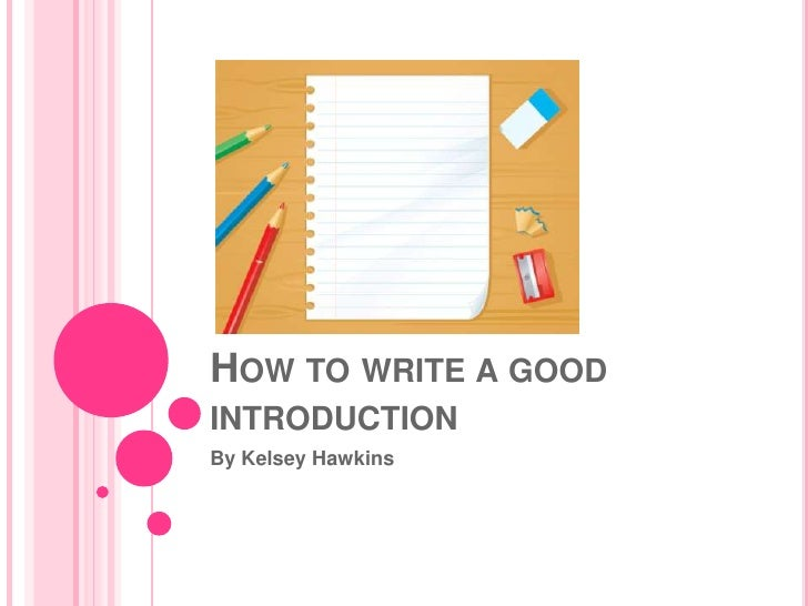 How to write a good intro