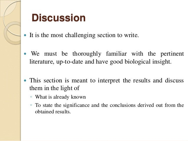 writing discussions in research papers As students in the natural sciences, we've been writing research papers and lab  reports for years now, as graduate students, many of the research papers we're  working on are headed towards publication—a  discussion/conclusions.