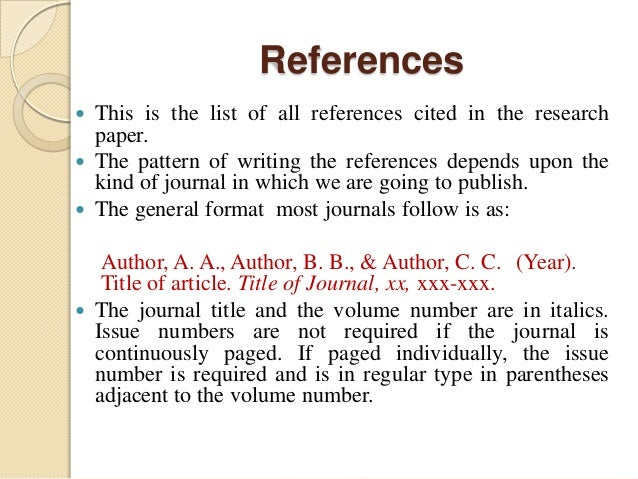 how to do references on a research paper