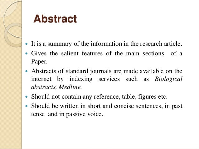 abstract page of a research paper The abstract is a succinct, single-paragraph summary of the paper's purpose, main points, method, findings, and conclusions after the abstract, include a short list of keywords to enable others to locate your paper more effectively.