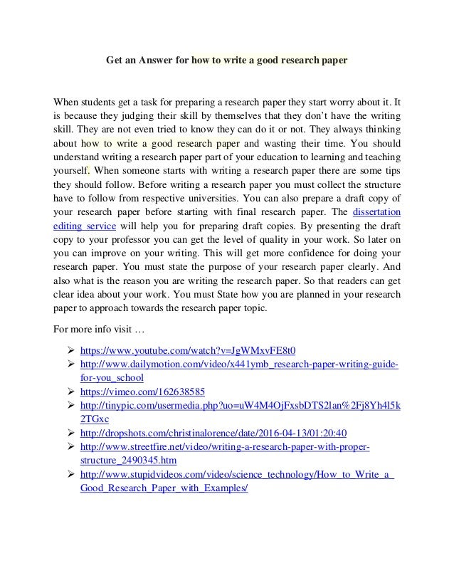 Steps to writing a good research paper