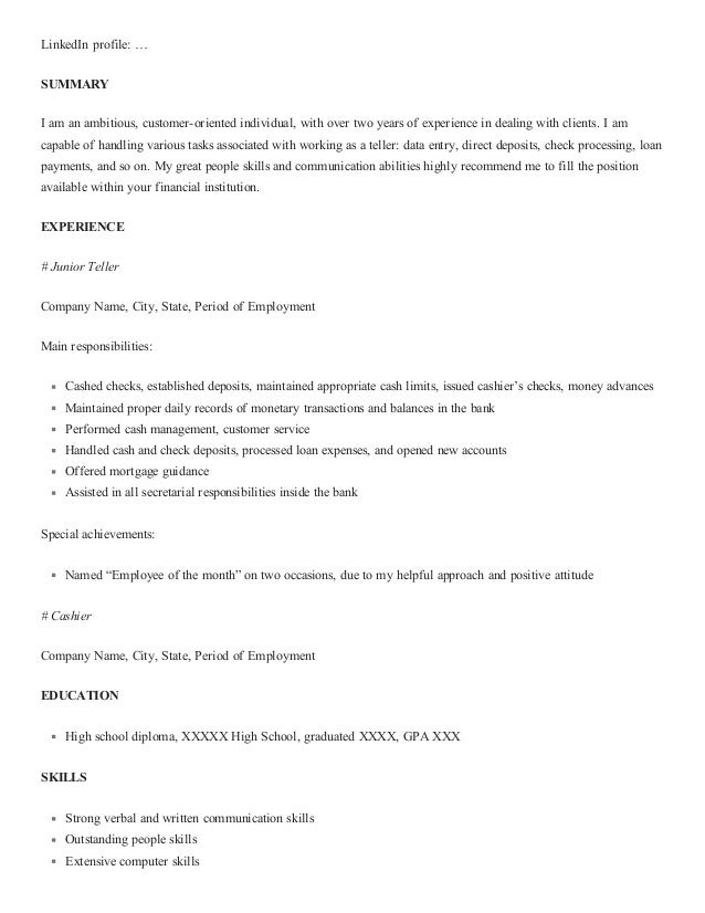 how to write a great bank teller resume with sample