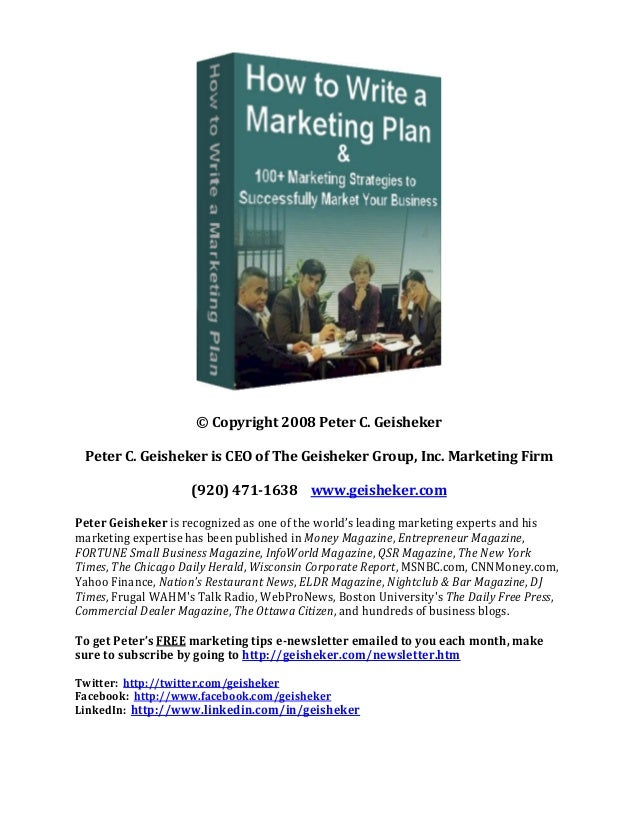 How to write a marketing plan pChqZmRt