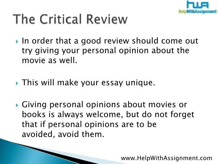 Critiquing A Movie Essay