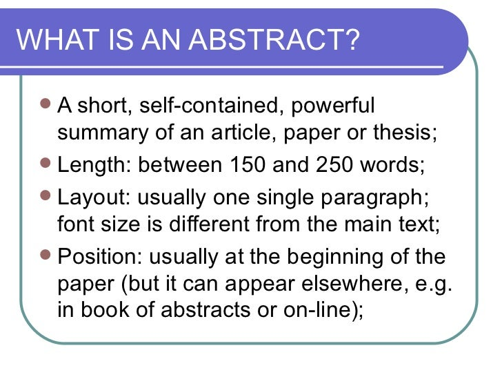 What Is An Abstract In A Dissertation