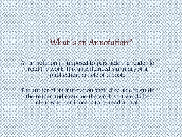 How to write annotation