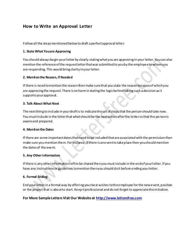 How To Write An Approval Letter