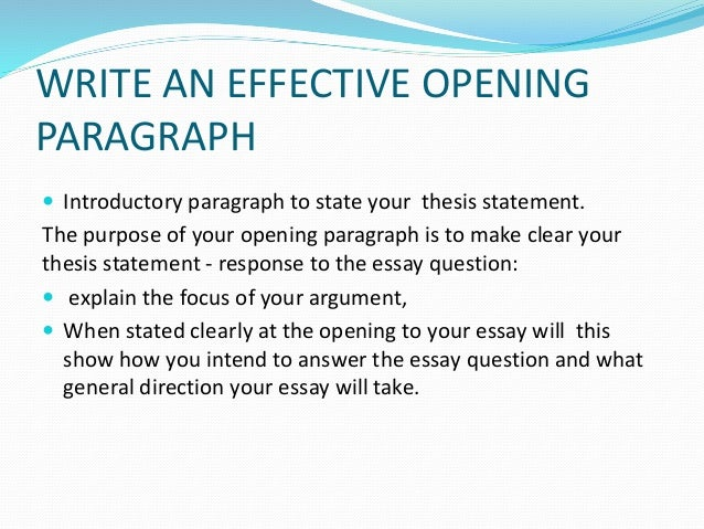 Effective opening for essay?