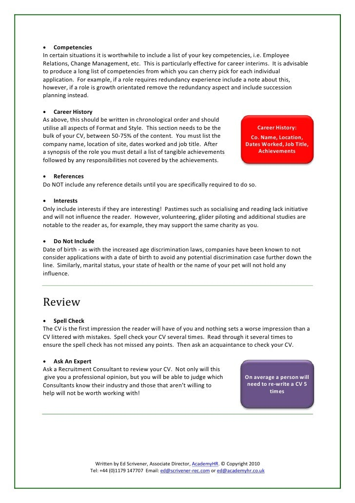 cv work history examples