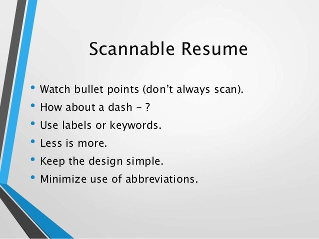 Scannable resume examples