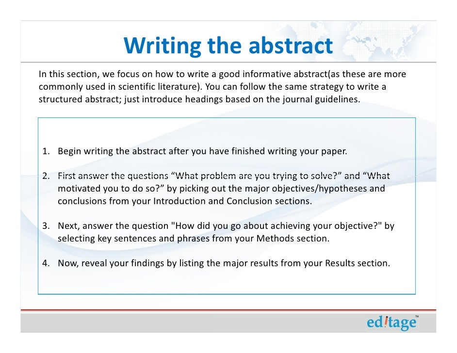 How To Write An Effective Title And Abstract And Choose