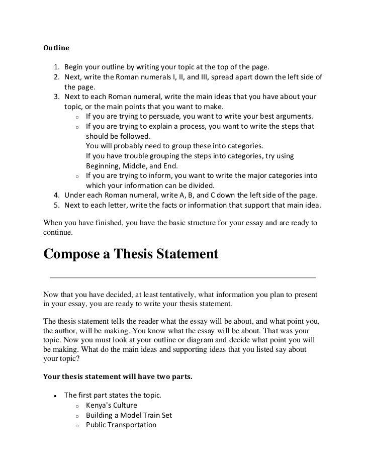 paragraph essay outline