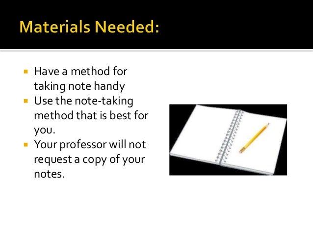 methods of taking notes Taking notes helps you to concentrate in class 5 notes create a resource for test preparation 6 note taking systems 5 methods • the cornell method.