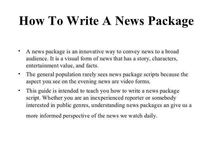 How to write a news script