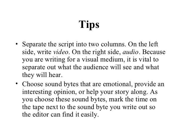 how to write a script for a newsreport pdf