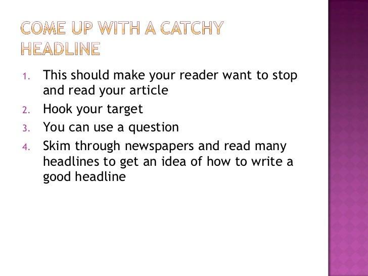 Writing a newspaper article