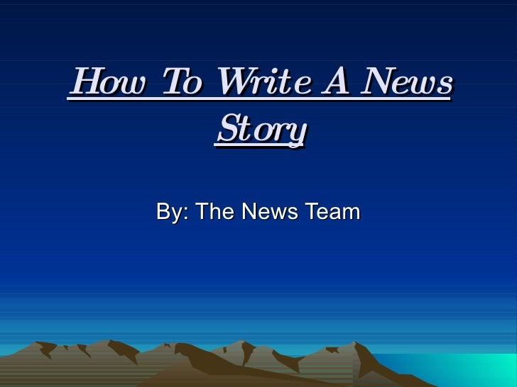 How To Write A News Script