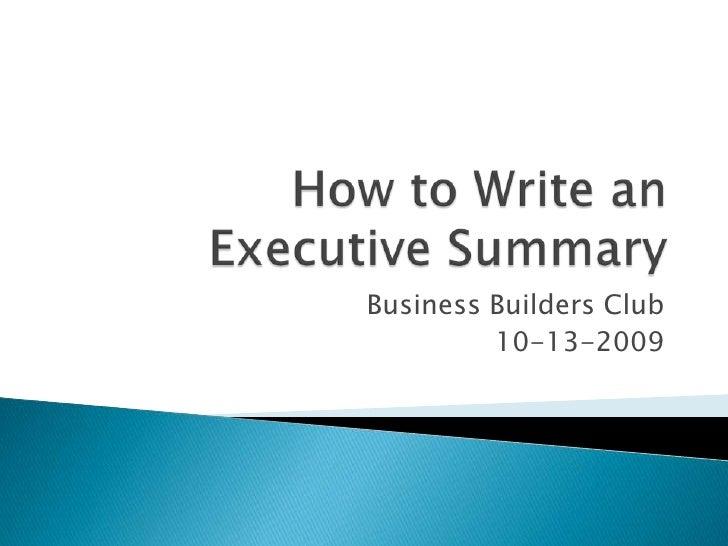 How to write an excecutive summary