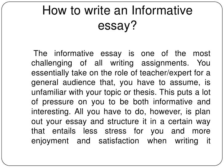 informative essay video Video: informative essay: definition, examples & structure there are many ways to inform your reader on a topic, from comparing and contrasting to providing a simple.