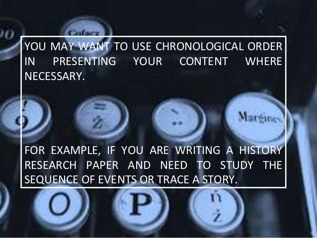 Chronological order of a research paper