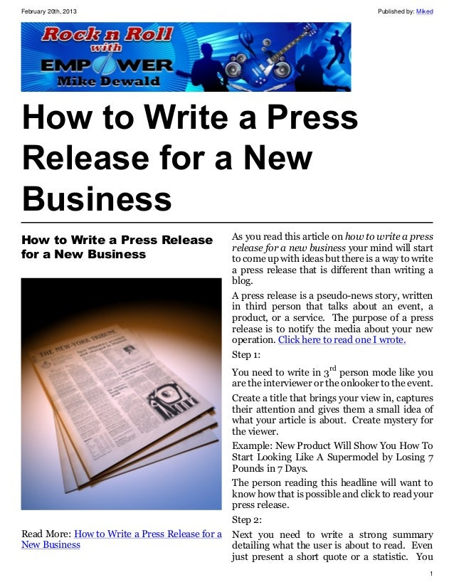 Writers' Resource: Sample Press Release Template for a Book Launch