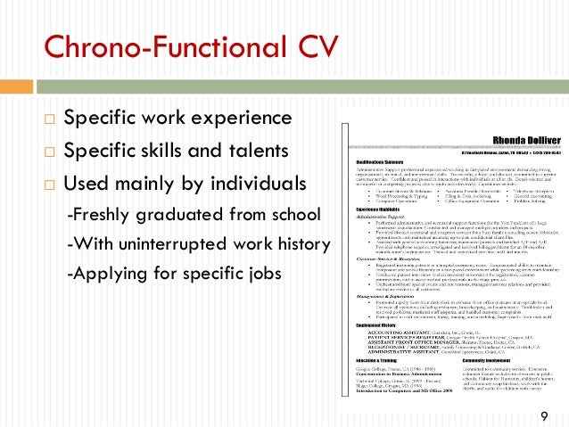 Functional Resume Format Chronological Or