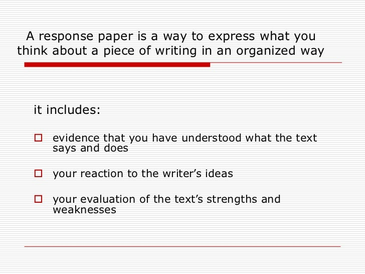 Reaction essay