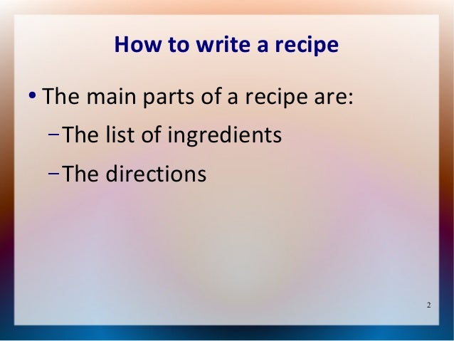 Write a Recipe - ReadWriteThink
