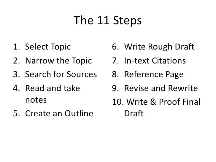 steps to writing a research paper outline