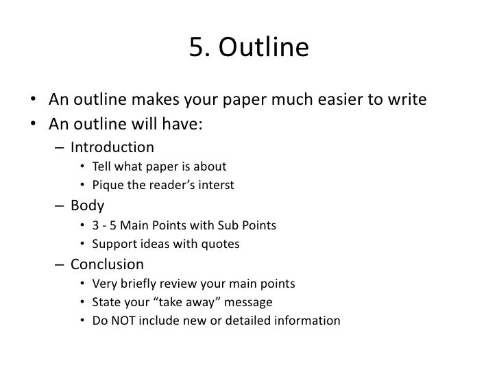 How do you write an outline for a research paper