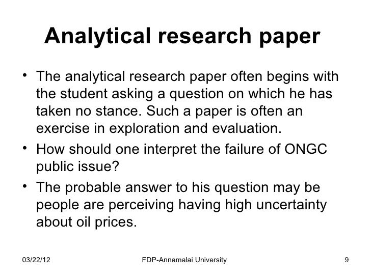Writing an analytical research paper