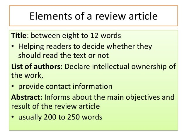 How to write a review of a review