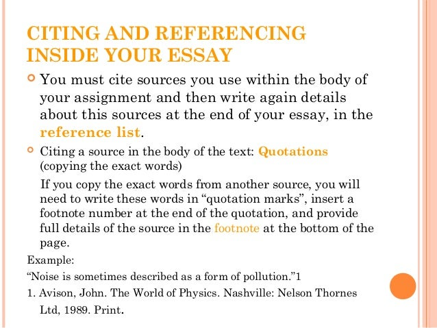 when to cite sources in an essay