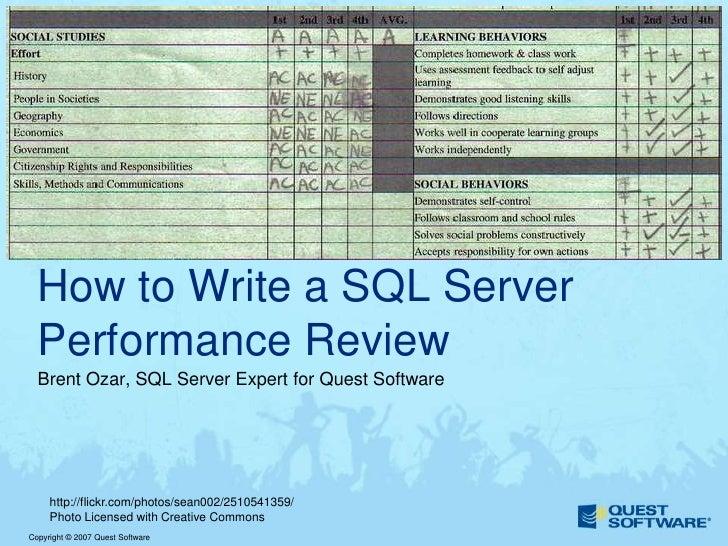 How To Write A SQL Server Performance Review