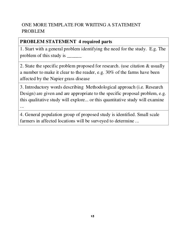 Thesis Statement Of The Problem Example