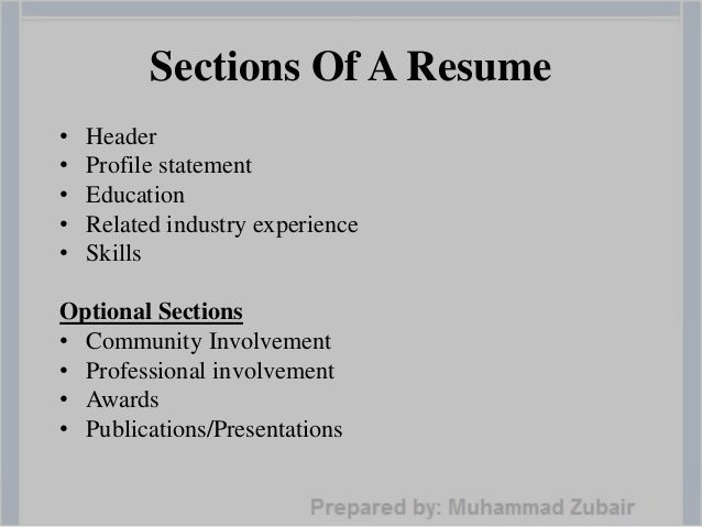 how to write a successful resume by muhammad zubair    competent resume you    sections