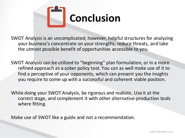 swot analysis essay conclusion Free example swot analysis essay online free sample essay on swot analysis buy custom essays, term papers and research papers on swot analysis at essaylib.
