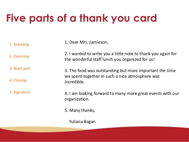 Five Parts Of A Thank You Letter