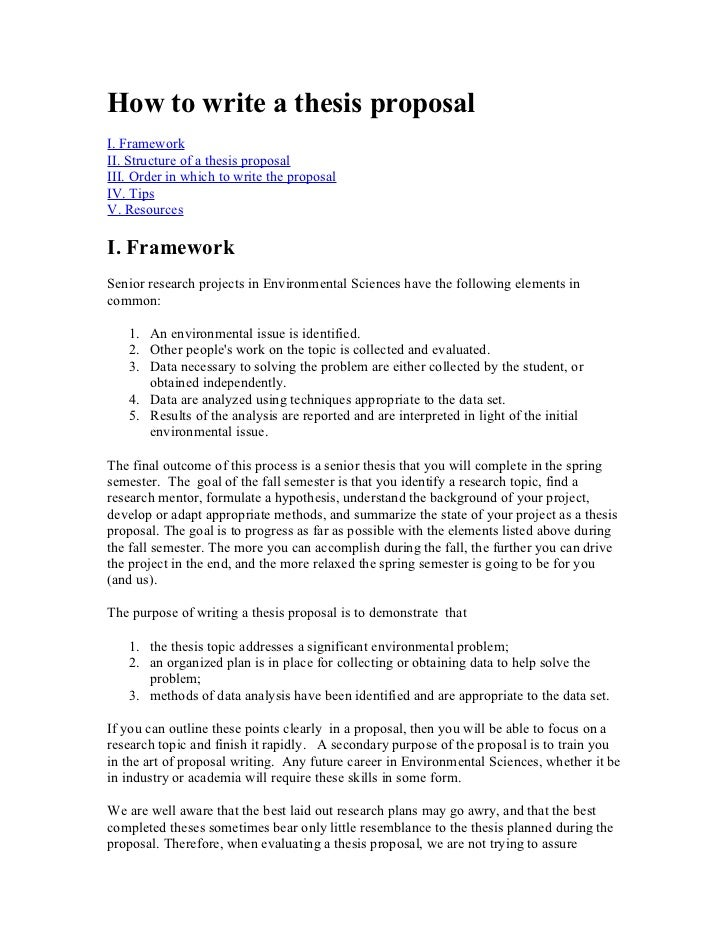 Writing a masters thesis or dissertation proposal