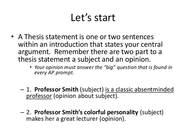 List of words to start a thesis statement