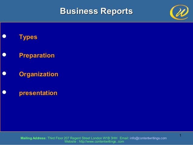 well written business report