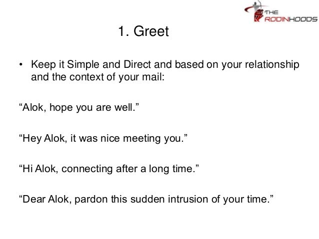 nice to meet you by email