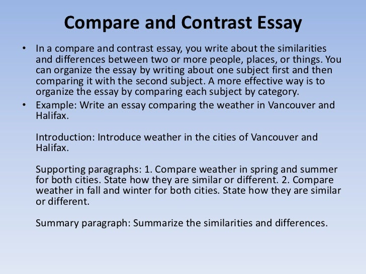 introduction paragraph of compare and contrast essay Video created by university of california, irvine for the course getting started with essay writing now, you're ready to write your first type of academic essay--the compare/contrast essay in this module, you'll learn what this type of essay.